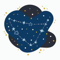 mignon, constellation, signe zodiaque, capricorne, griffonnages, main, dessiné, étoiles, et, points, dans, espace abstrait vecteur
