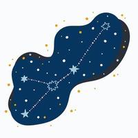 mignon, constellation, signe du zodiaque, cancer, griffonnages, main, dessiné, étoiles, et, points, dans, espace abstrait vecteur