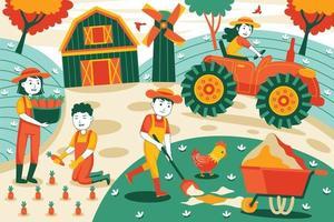 illustration vectorielle de l & # 39; agriculture dans un style design plat vecteur
