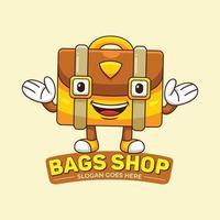 vecteur de logo de mascotte de magasin de sacs