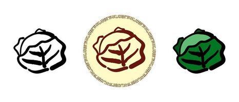 contour et chou-fleur et symboles rétro du chou vecteur