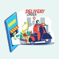 livraison d'aliments sains par courrier et de courses à domicile pendant la pandémie de coronavirus covid19 vecteur