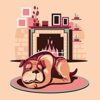 chien de compagnie dormant près de la cheminée vecteur