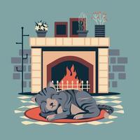 Chaton animal de compagnie dormir sur tapis tapis ovale par cheminée vecteur