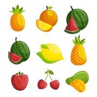 jeu d'icônes de fruits d'été vecteur
