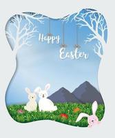 mignons lapins heureux dans le pré le jour du soleil pour les vacances de Pâques, fête de célébration ou carte de voeux vecteur