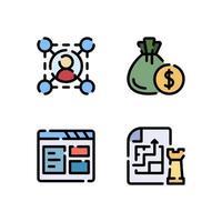 Illustration vectorielle de l'icône de couleur linéaire de stratégie de navigateur budget réseau vecteur