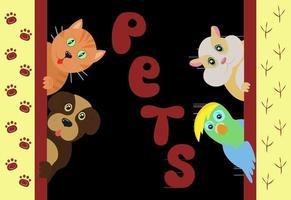 animaux de compagnie vector illustration mignon dessin animé chat et chien avec hamster et maison perroquet journée mondiale des animaux de compagnie 30 novembre animaux domestiques regardant derrière le mur et montrent leur langue et souriant