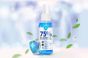Spray désinfectant pour les mains sur un fond bleu clair flou vecteur