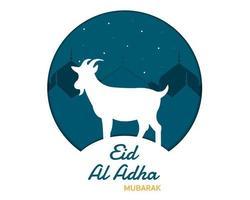papier de mosquée de chèvre eid al adha vecteur