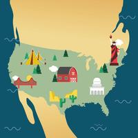 États-Unis Landmark Map Vector Design