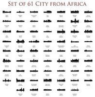 ensemble de 60 silhouettes de ville d'Afrique vecteur