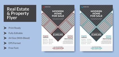 conception de flyer propriété immobilière avec variation de couleur a4 avec fond perdu prêt à imprimer format eps modifiable vecteur