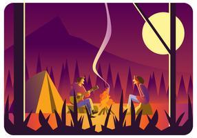 Un couple au feu de camp vecteur