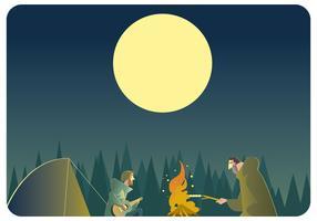 Musique autour de feu de camp vector