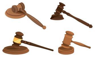 ensemble de différents marteaux de juges vecteur
