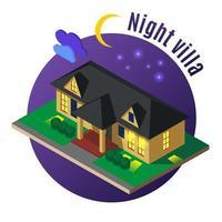 illustration vectorielle de nuit villa illustration isométrique vecteur
