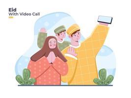 La famille musulmane utilise un smartphone pour les appels vidéo pour célébrer et saluer l'eid mubarak en indonésien. eid mubarak avec appel vidéo en ligne célébrant ensemble eid al fitr vecteur