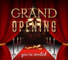carte d'invitation d'inauguration avec rideaux de théâtre rouges et tapis de velours vecteur