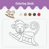 Livre de coloriage de feuille de travail thème animal mignon pour l'illustration vectorielle de l'éducation - singe vecteur