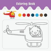 Livre de coloriage de feuille de travail thème animal mignon pour l'illustration vectorielle de l'éducation - chat en hélicoptère vecteur