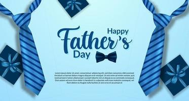 modèle de bannière affiche fête des pères heureux avec couleur bleue réaliste de cravate et carte postale vue de dessus de boîte présente vecteur