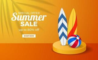 modèle de bannière affiche vente été avec scène de podium orange couleur chaude avec planche de surf et balle vecteur