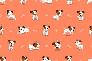 vecteur, dessin animé, caractère, jack russell terrier, chien, seamless, modèle vecteur