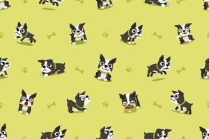 modèle sans couture de vecteur de personnage de dessin animé boston terrier chien