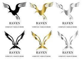 ensemble de six images vectorielles de divers symboles de vol de reven il y a trois couleurs noir or argent bon usage pour symbole mascotte icône avatar et logo vecteur