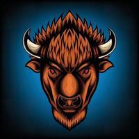 Illustration vectorielle vue de face du bison américain buffalo bon usage pour symbole mascotte icône avatar tatouage t shirt design logo ou n'importe quelle conception vecteur