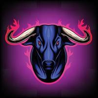 illustration vectorielle vue de face de la tête de taureau entouré de flammes c'est des signes du zodiaque taureau bon usage pour symbole mascotte icône avatar tatouage t shirt design logo ou n'importe quel design vecteur