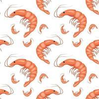 modèle sans couture avec des crevettes ou des crevettes sur fond blanc. impression mignonne pour les textiles, le papier et d'autres conceptions. une source de vitamines et une alimentation saine. illustration vectorielle plane vecteur