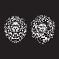 Tête de lion en colère avec couronne sur fond noir vecteur