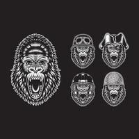 personnages de tête de gorille en colère sur fond noir vecteur