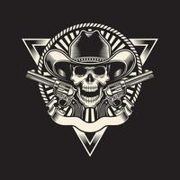 crâne de cow-boy avec revolver sur fond noir vecteur