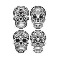 jour du crâne mort graphique vectoriel en noir et blanc
