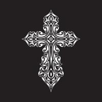 croix gothique ornée sur fond noir vecteur