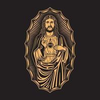 illustration vectorielle de jésus christ sur fond noir vecteur