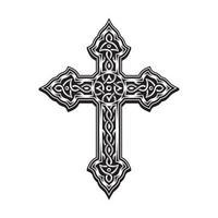 croix ornementale en noir et blanc vecteur