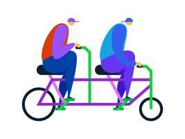 Vecteurs uniques de vélo tandem vecteur