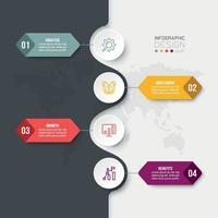Modèle d'infographie de flux de travail en 4 étapes vecteur