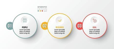 modèle d & # 39; entreprise infographique avec conception en 3 étapes ou en option vecteur