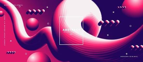 fond géométrique abstrait coloré dégradé tendance fluide composition de formes 3d fluides vecteur