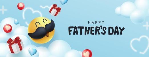fond de bannière de fête des pères heureux avec smiley moustache vecteur