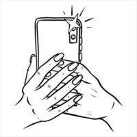 photos sur le téléphone téléphone en main style cartoon selfie vecteur