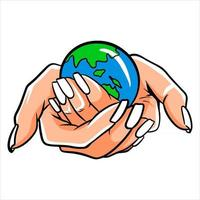 mains tenant la planète, sauvez la terre vecteur