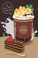 ensemble de délicieux bonbons et desserts à la saveur de chocolat vecteur