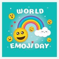 carte de voeux de la journée mondiale des emoji et modèle de fond illustration vectorielle design plat dessiné à la main vecteur
