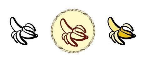 contour et couleur et symboles de banane rétro vecteur